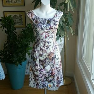 Kay Unger floral fitted dress size 4
